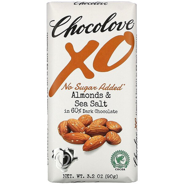 Chocolove, XO, Almonds & Sea Salt in 60% Dark Chocolate Bar,  3.2 oz (90 g)