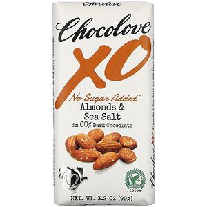 Chocolove, Xo,杏仁和海鹽 60% 黑巧克力棒,3.2 盎司(90 克)'