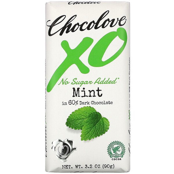 Chocolove, XO, Mint in 60% Dark Chocolate Bar, 3.2 oz (90 g)