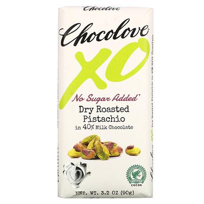 Купить Chocolove XO, Dry Roasted Pistachio in 40% Milk Chocolate Bar, 3.2 oz ( 90 g)