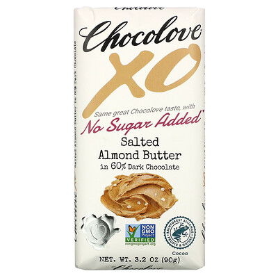 Купить Chocolove XO, Salted Almond Butter in 60% Dark Chocolate, 3.2 oz (90 g)