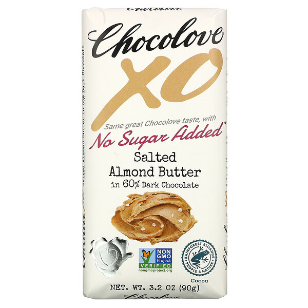 Chocolove, XO, Salted Almond Butter in 60% Dark Chocolate, 3.2 oz (90 g)