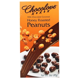 Chocolove, Milk Chocolate Covered Honey Roasted Peanuts, 3 oz (85 g)