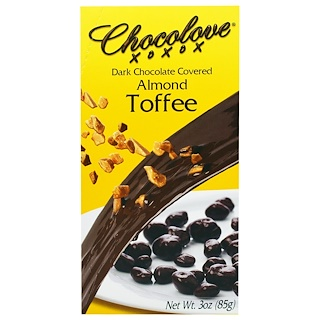 Chocolove, Dark Chocolate Covered Almond Toffee, 3 oz (85 g)