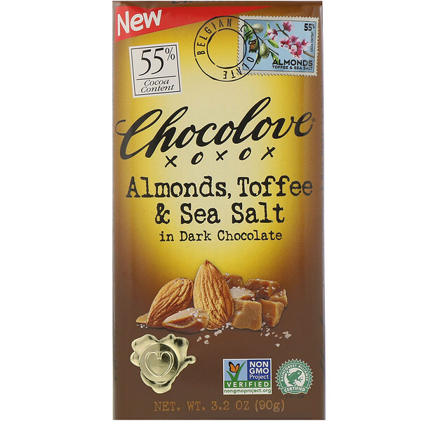Almonds, Toffee & Sea Salt in Dark Chocolate, 3.2 oz (90 g)