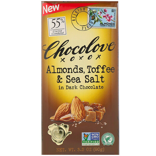 Chocolove, Almonds, Toffee & Sea Salt in Dark Chocolate, 55% Cocoa, 3.2 oz (90 g)