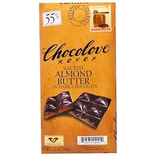 Chocolove, Соленая миндальная паста в черном шоколаде, 3,2 унции (90 г)