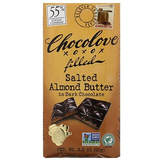 Chocolove, 가염 아몬드 버터 인 다크 초콜릿, 코코아 55%, 90g(3.2oz)