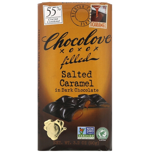 Chocolove, Chocolate Filled Salted Caramel in Dark Chocolate, 3.2 oz (90 g)