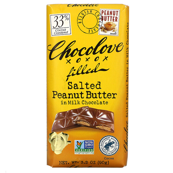 Salted Peanut Butter in Milk Chocolate, 33% Cocoa, 3.2 oz  (90g )