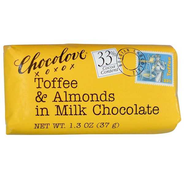 Chocolove, Toffee & Almonds in Milk Chocolate, 1.3 oz (37 g) (Discontinued Item)