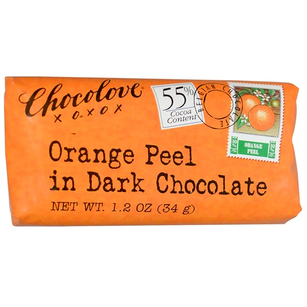 Chocolove, Orange Peel in Dark Chocolate, 1.2 oz (34 g) (Discontinued Item)