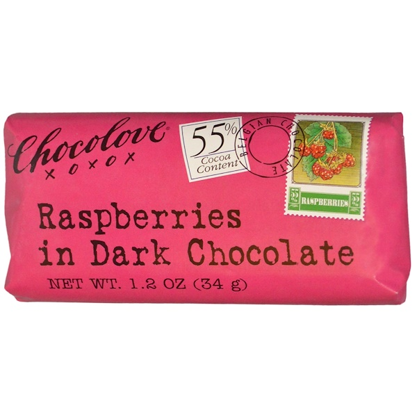Chocolove, Raspberries in Dark Chocolate, 1.2 oz (34 g) (Discontinued Item)