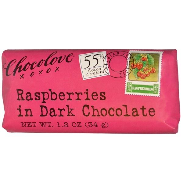 Chocolove, Малина в черном шоколаде, 1.2 унции (34 г.) (Discontinued Item)