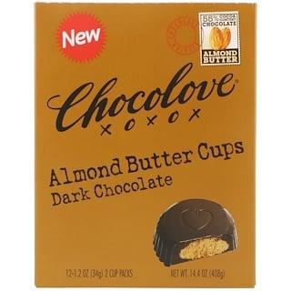 Chocolove, アーモンドバターカップ、ダークチョコレート、2カップ入り x 12パック、各1.2 オンス(34 g)