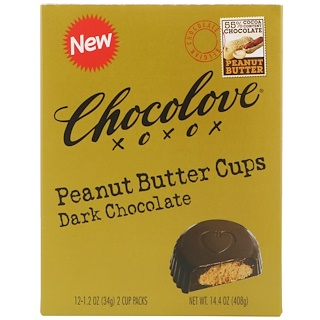 Chocolove, Peanut Butter Cups, Dark Chocolate, 12- 2 Cup Packs, 1.2 oz (34 g) Each