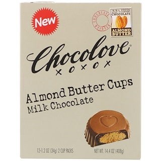 Chocolove, Almond Butter Cups, Milk Chocolate, 12- 2 Cup Packs, 1.2 oz (34 g) Each