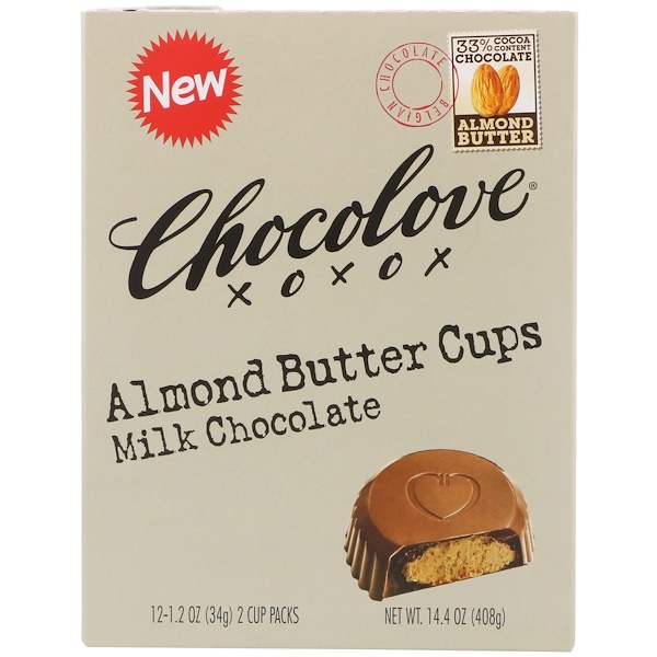 Chocolove, Almond Butter Cups, Milk Chocolate, 12- 2 Cup Packs, 1.2 oz (34 g) Each (Discontinued Item)
