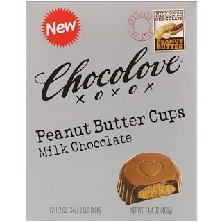 Chocolove, Peanut Butter Cups, Milk Chocolate, 12- 2 Cup Packs, 1.2 oz (34 g) Each