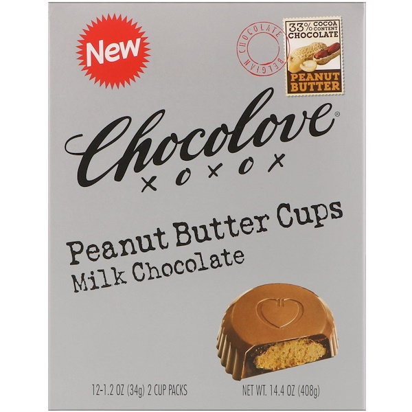Chocolove, Peanut Butter Cups, Milk Chocolate, 12- 2 Cup Packs, 1.2 oz (34 g) Each (Discontinued Item)
