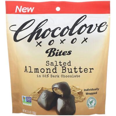Купить Chocolove Bites, Salted Almond Butter in 55% Dark Chocolate, 3.5 oz (100 g)
