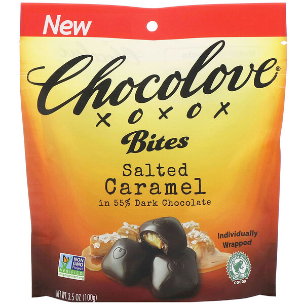 Chocolove, Bites, Salted Caramel in 55% Dark Chocolate, 3.5 oz (100 g)