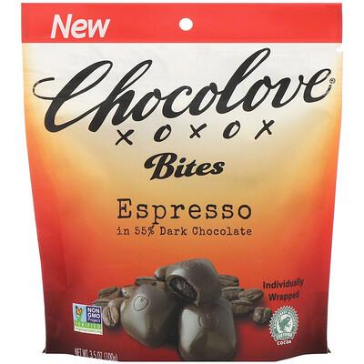 Купить Chocolove Bites, Espresso in 55% Dark Chocolate, 3.5 oz (100 g)
