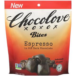 Chocolove, Bites, Espresso in 55% Dark Chocolate, 3.5 oz (100 g)