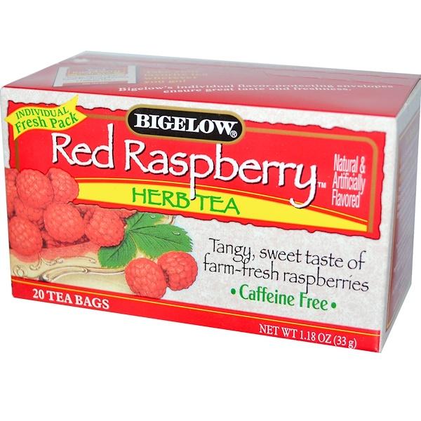 Bigelow, Herb Tea, Red Raspberry, Caffeine Free, 20 Tea Bags, 1.18 oz (33 g)
