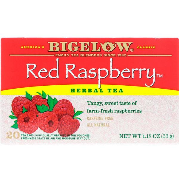 Bigelow, Травяной чай с красной малиной, без кофеина, 20 чайных пакетиков, 1,18 унции (33 г)