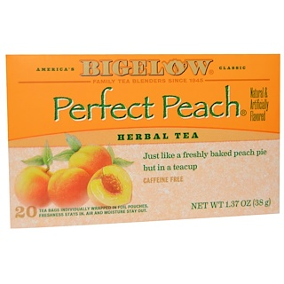 Bigelow, Herbal Tea, Perfect Peach, Caffeine Free, 20 Tea Bags, 1.37 oz (38 g)