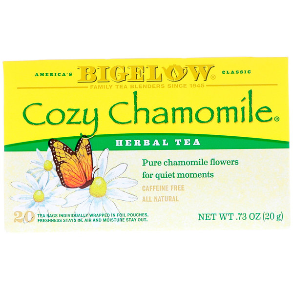 Bigelow, Cozy Chamomile Herb Tea, Caffeine Free, 20 Tea Bags, .73 oz (20 g) (Discontinued Item)
