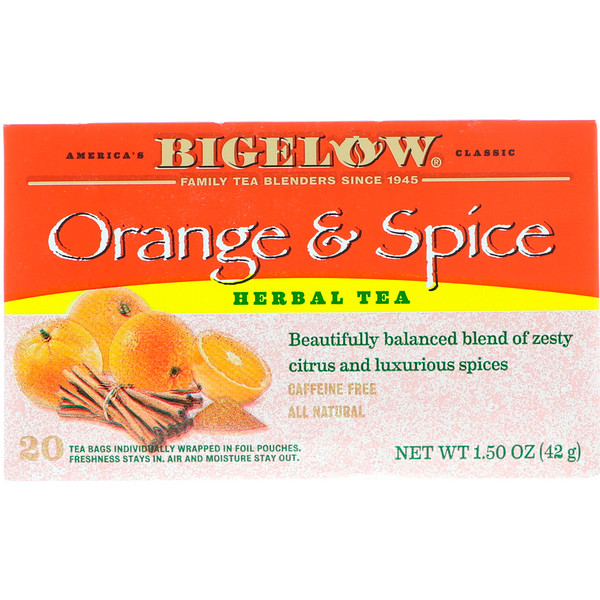 Bigelow, Herbal Tea, Orange & Spice, 20 Tea Bags, 1.50 oz (42 g)