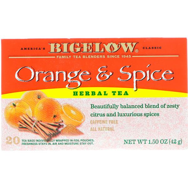 Bigelow, ハーブ ティー、 オレンジ &スパイス、 カフェインレス、 20ティーバッグ、 1.50 oz (42 g) (Discontinued Item)