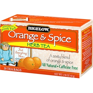 Bigelow, Травяной чай, Апельсин и Специи, без кофеина 20 чайных пакетиков, 1.50 унции (42 г)