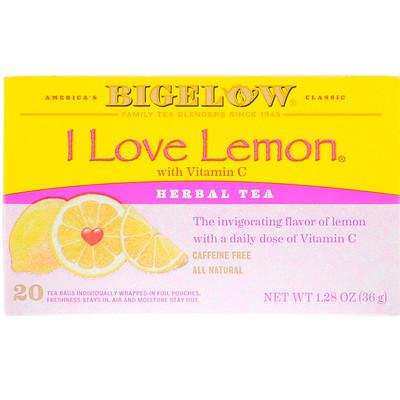 Herbal Tea, I Love Lemon with Vitamin C, Caffeine Free, 20 Tea Bags, 1.28 oz (36 g)