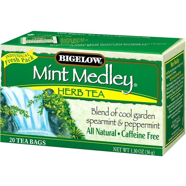 Bigelow, Травяной чай, мятная смесь, без кофеина, 20 чайных пакетиков, 1,30 унции (36 г)