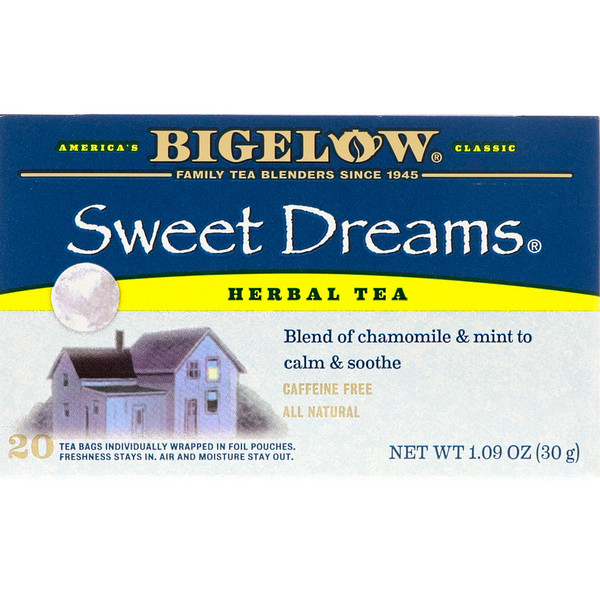 Bigelow, Sweet Dreams Herbal Tea, Caffeine Free, 20 Tea Bags, 1.09 oz (30 g) (Discontinued Item)