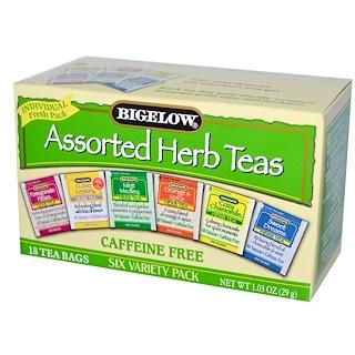 Bigelow, Assorted Herb Teas, Six Variety Pack, Caffeine Free, 18 Tea Bags, 1.03 oz (29 g)