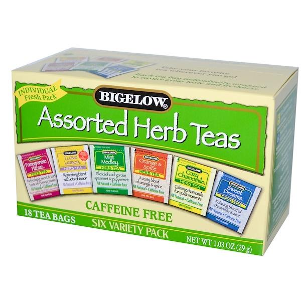 Bigelow, ハーブティー詰め合わせ、6種類のバラエティーパック、カフェインなし、18ティーバッグ、1.03オンス(29 g)