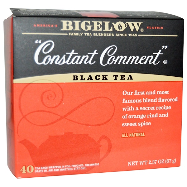 Bigelow, Black Tea, Constant Comment, 40 Tea Bags, 2.37 oz (67 g) (Discontinued Item)