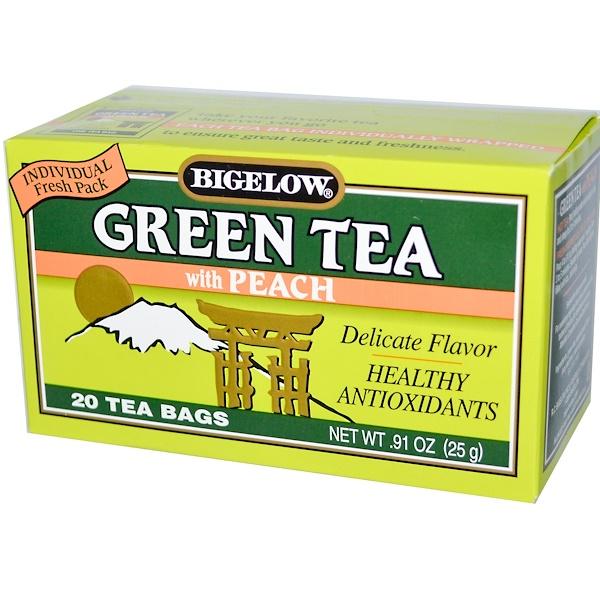 Bigelow, Зеленый чай с персиком, 20 чайных пакетиков, 0,91 унции (25 г)
