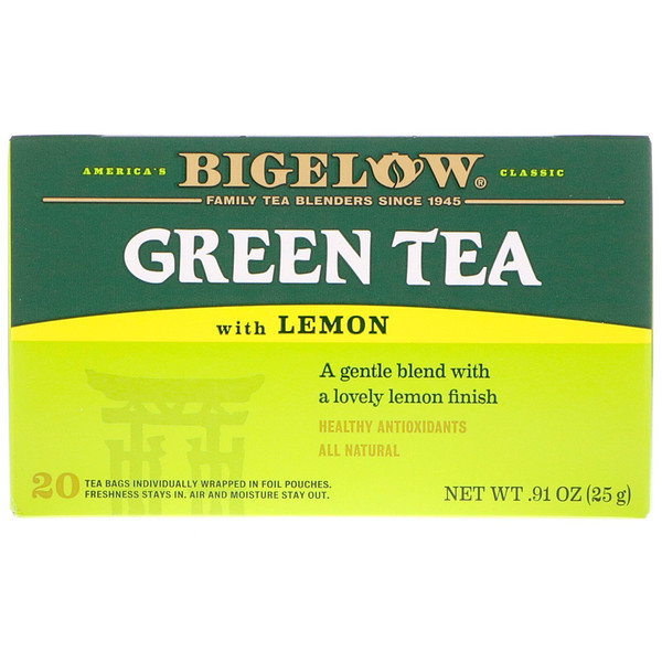 Bigelow, Green Tea with Lemon, 20 Tea Bags, 0.91 oz (25 g) (Discontinued Item)