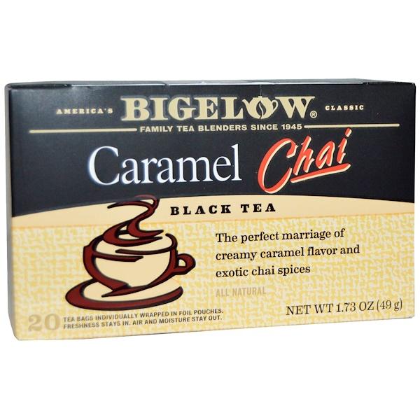 Bigelow, Black Tea, Caramel Chai, 20 Tea Bags, 1、73 oz (49 g)