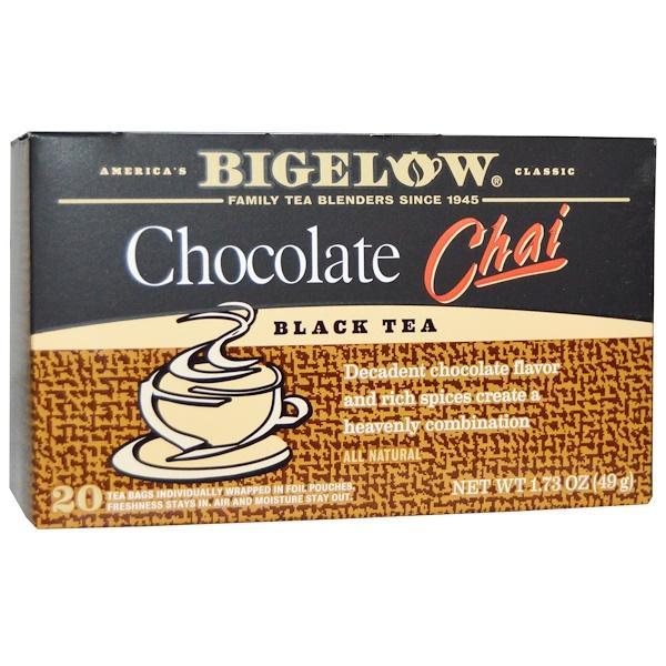 Bigelow, Черный чай, шоколадный чай, 20 пакетиков, 1,73 унции (49 г) (Discontinued Item)