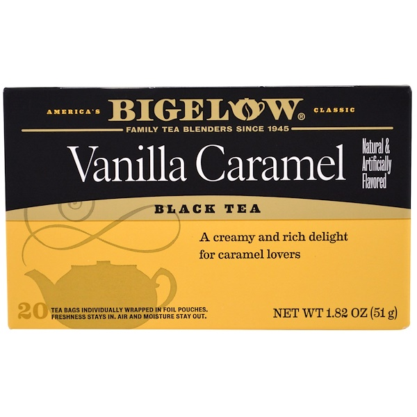 Bigelow, Black Tea, Vanilla Caramel, 20 Tea Bags, 1.82 oz (51 g)