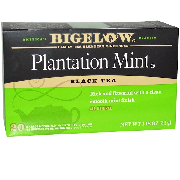 Bigelow, 種植園薄荷,紅茶,20茶袋,1、18盎司(33克)