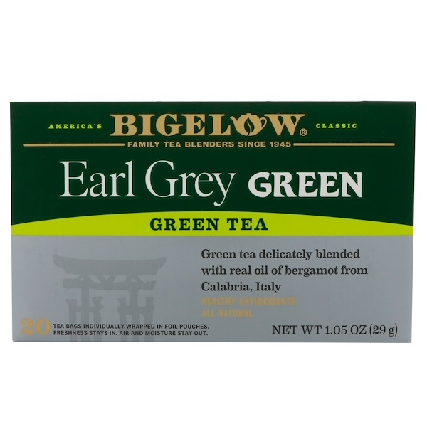 Bigelow, Early Grey Green Tea, 20 Tea Bags, 1.05 oz (29 g) (Discontinued Item)