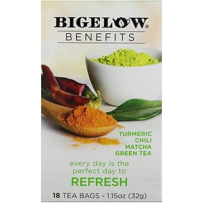Benefits, Обновление, куркума, чили, маття, зеленый чай, 18 чайных пакетиков, 1,15 унц. (32 г) органические куркума таволга и имбирь 16 изолированных чайных пакетиков 1 13 унций 32 г