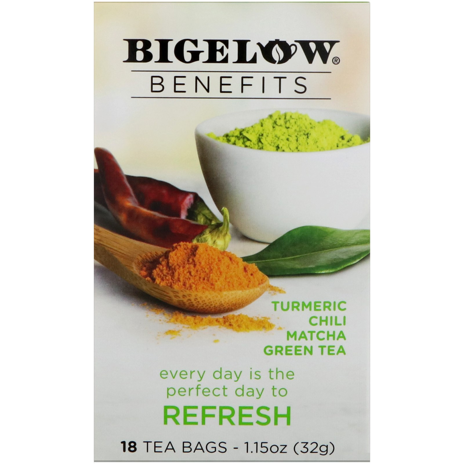 Bigelow, Benefits, Refresh, Turmeric Chili Matcha Green